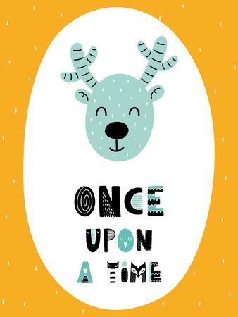 カラフルな子供っぽいベクトルカード。スカンジナビア風のイラスト入りレタリング。鹿とフレーズを使ったクリエイティブなポスター。