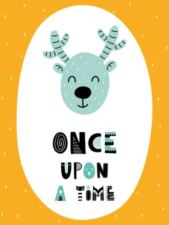 Colorful childish vector card. Lettering with illustration in Scandinavian style. Creative poster with deer and phrase. Illustration