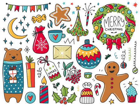 Doodles Christmas elements. Color vector items. Illustration with new year decor. Design for prints and cards.