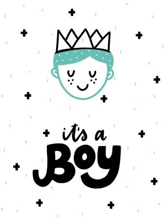 カラフルな子供っぽいベクトルカード。スカンジナビア風のイラスト入りレタリング。王子とフレーズを持つ創造的なポスター。