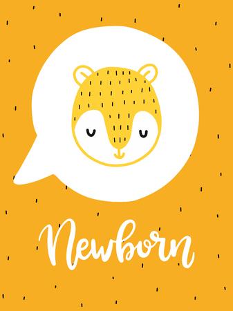 다채로운 유치원 벡터 카드입니다. 스칸디나비아 스타일로 삽화가있는 글자. 곰과 문구와 크리 에이 티브 포스터입니다. 일러스트