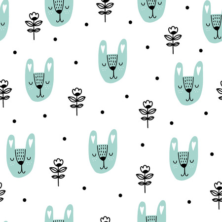 Seamless scandinavian pattern. Vector kids background with rabbit and different elements. Design for prints, shirts and posters. Illustration