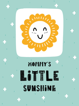 カラフルな子供っぽいベクトルカード。スカンジナビア風のイラスト入りレタリング。太陽とフレーズを持つ創造的なポスター。  イラスト・ベクター素材