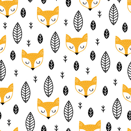 Motif scandinave sans soudure. Vecteur enfants fond avec renard et différents éléments. Conception de gravures, chemises et affiches.