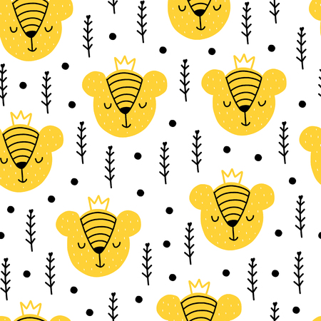 Seamless scandinavian pattern. Vector kids background with bear and different elements. Design for prints, shirts and posters.