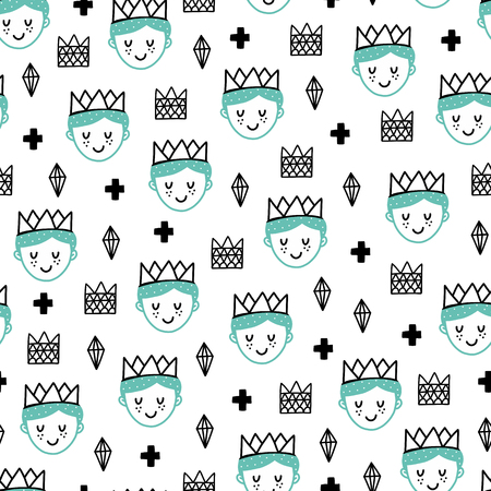 Seamless scandinavian pattern. Vector kids background with prince and different elements. Design for prints, shirts and posters.