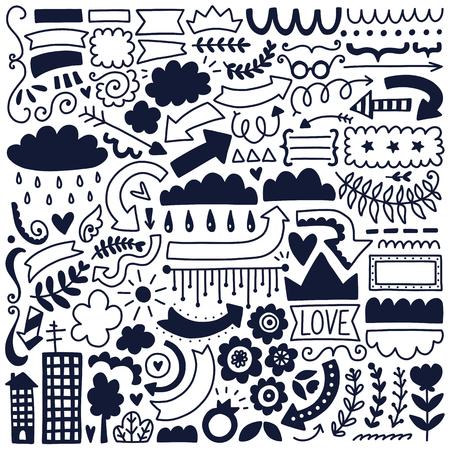 ●手描きベクトル装飾要素セット。ブラックイラスト集。