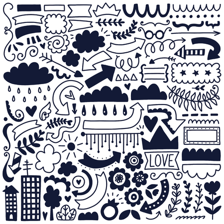 Hand drawn vector decor elements set. Black illustration collection. Çizim