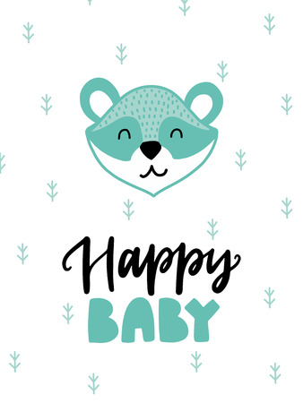 Colorful childish vector card. Lettering with illustration in Scandinavian style. Creative poster with raccoon and phrase.