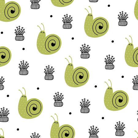 Seamless scandinavian pattern. Vector kids background with snail and different elements. Design for prints, shirts and posters.