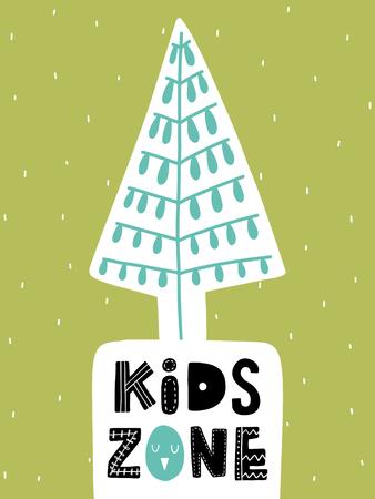 다채로운 유치원 벡터 카드입니다. 스칸디나비아 스타일로 삽화가있는 글자. 나무와 문구와 크리 에이 티브 포스터입니다.