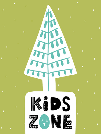 Colorful childish vector card. Lettering with illustration in Scandinavian style. Creative poster with tree and phrase.