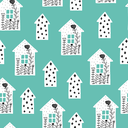 Seamless scandinavian pattern. Vector kids background with house and different elements. Design for prints, shirts and posters.