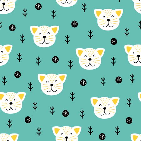 Seamless scandinavian pattern. Vector kids background with cat and different elements. Design for prints, shirts and posters.