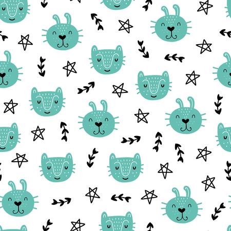 シームレスなスカンジナビアパターン。動物と異なる要素を持つベクトルの子供の背景。プリント、シャツ、ポスターのデザイン。