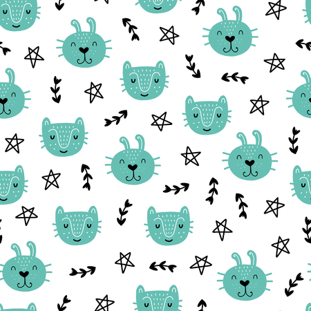 Seamless scandinavian pattern. Vector kids background with animals and different elements. Design for prints, shirts and posters. Illustration