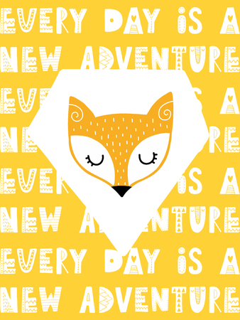 Colorful childish vector card. Lettering with illustration in Scandinavian style. Creative poster with fox and phrase. Иллюстрация