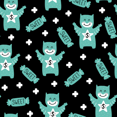 Seamless scandinavian pattern. Vector kids background with kid and different elements. Design for prints, shirts and posters.