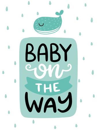 カラフルな子供っぽいベクトルカード。スカンジナビア風のイラスト入りレタリング。クジラとフレーズを使用したクリエイティブなポスター。
