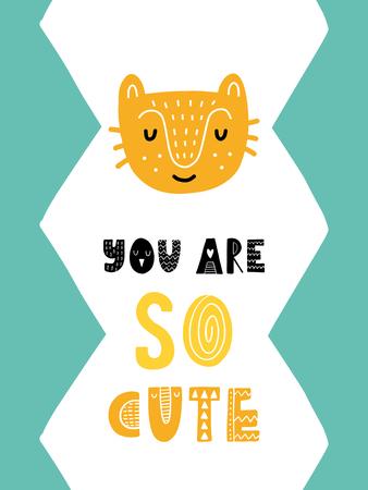 カラフルな子供っぽいベクトルカード。スカンジナビア風のイラスト入りレタリング。猫とフレーズを使ったクリエイティブポスター。