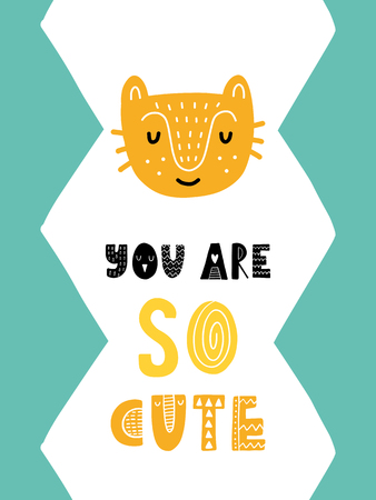 Colorful childish vector card. Lettering with illustration in Scandinavian style. Creative poster with cat and phrase.