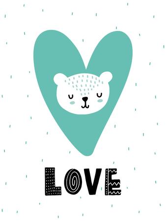 カラフルな子供っぽいベクトルカード。スカンジナビア風のイラスト入りレタリング。フレーズ付きクリエイティブポスター。