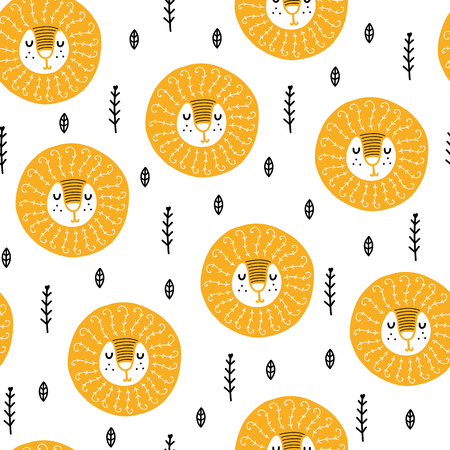 Seamless scandinavian pattern. Vector kids background with lion and different elements. Design for prints, shirts and posters.