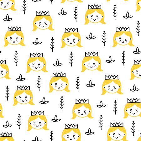 Seamless scandinavian pattern. Vector kids background with princess and different elements. Design for prints, shirts and posters. Illustration