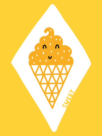 Colorful childish vector card. Lettering with illustration in Scandinavian style. Creative poster with ice cream and phrase.