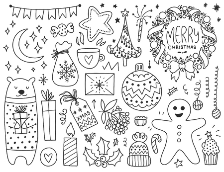 Doodles Christmas elements. Monochrome vector items. Illustration with new year decor. Design for prints and cards.