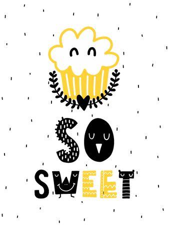 カラフルな子供っぽいベクトルカード。スカンジナビア風のイラスト入りレタリング。ケーキとフレーズを使用したクリエイティブなポスター。
