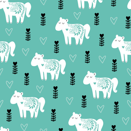 Seamless scandinavian pattern. Vector kids background with horse and different elements. Design for prints, shirts and posters. Illustration
