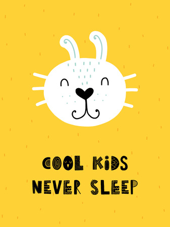 Colorful childish vector card. Lettering with illustration in Scandinavian style. Creative poster with rabbit and phrase. Illustration