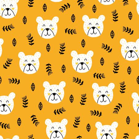 Naadloos Scandinavisch patroon. Vector kinderen achtergrond met beer en verschillende elementen. Ontwerp voor prints, shirts en posters. Stockfoto - 91101775