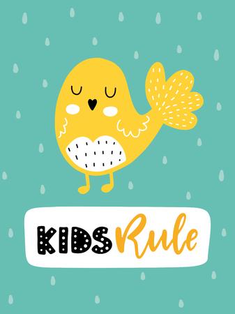다채로운 유치원 벡터 카드입니다. 스칸디나비아 스타일로 삽화가있는 글자. 조류와 문구와 크리 에이 티브 포스터입니다.