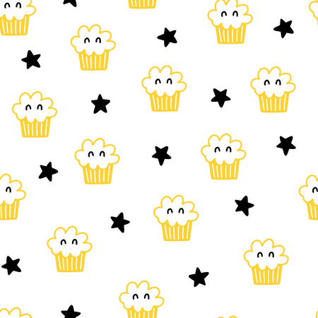Seamless scandinavian pattern. Vector kids background with cake and different elements. Design for prints, shirts and posters. Illustration