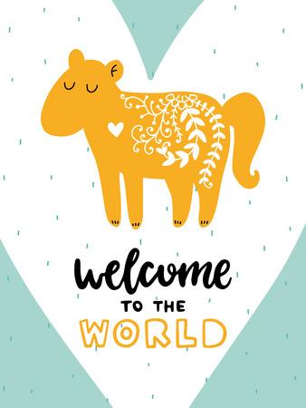 カラフルな幼稚なベクトル カード。北欧スタイルのイラストの文字。馬とフレーズの創造的なポスター。