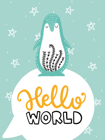 Colorful childish vector card. Lettering with illustration in Scandinavian style. Creative poster with penguin and phrase. Illustration