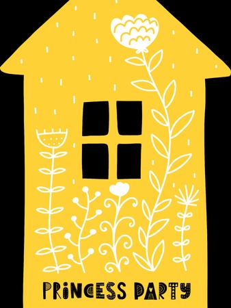 カラフルな幼稚なベクトル カード。北欧スタイルのイラストの文字。家とフレーズの創造的なポスター。