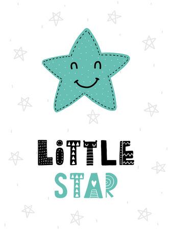 カラフルな幼稚なベクトル カード。北欧スタイルのイラストの文字。星とフレーズで創造的なポスター。  イラスト・ベクター素材