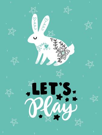カラフルな幼稚なベクトル カード。北欧スタイルのイラストの文字。ウサギとフレーズと創造的なポスター。  イラスト・ベクター素材