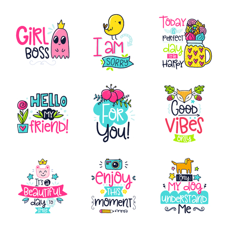 Vector poster collection with phrases and decor elements. Typography card, color image. Design for t-shirt and prints.