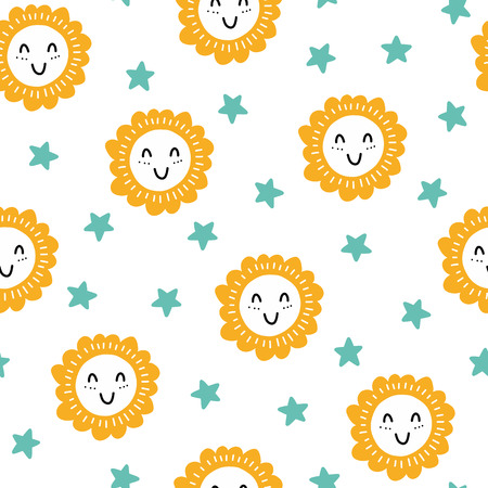 Seamless scandinavian pattern. Vector kids background with sun and different elements. Design for prints, shirts and posters.