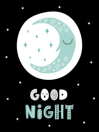 カラフルな幼稚なベクトル カード。北欧スタイルのイラストの文字。月とフレーズによる創造的なポスター。