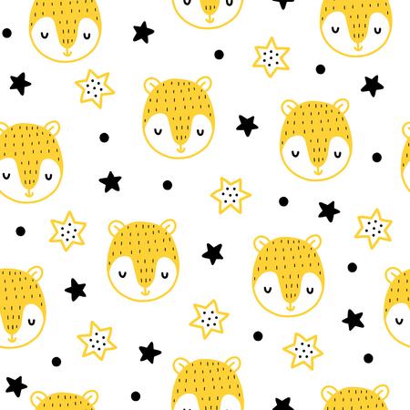 원활한 스 칸디 나 비아 패턴입니다. 벡터 곰 및 다른 요소와 배경을 아이. 지문, 셔츠 및 포스터 디자인.