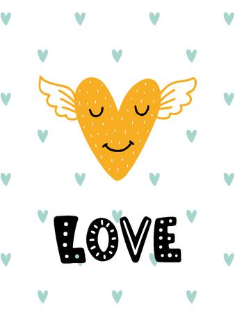 다채로운 유치원 벡터 카드입니다. 스칸디나비아 스타일로 삽화가있는 글자. 마음과 문구와 크리 에이 티브 포스터입니다.