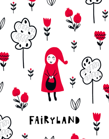 Vector poster with phrase, girl and decor elements. Typography card, color image. Fairyland. Design for t-shirt and prints. Illustration