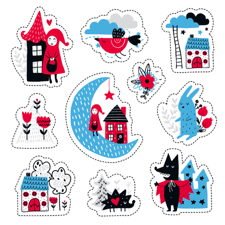 Fairytale cute elements. Color vector stickers. Illustration with girl and wolf. Design for prints and cards. Stock Illustratie