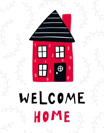 Vector poster with phrase, house and decor elements. Typography card, color image. Welcome home. Design for t-shirt and prints. Vectores