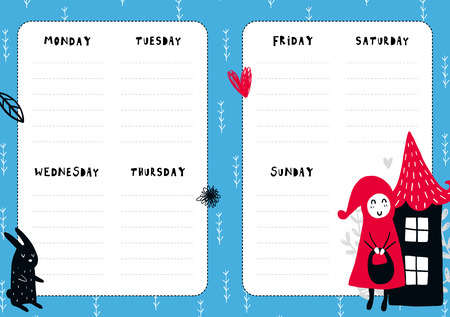 Fairytale daily planner template.